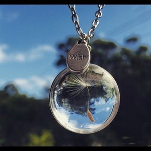 Glass pendant with dandelion inside